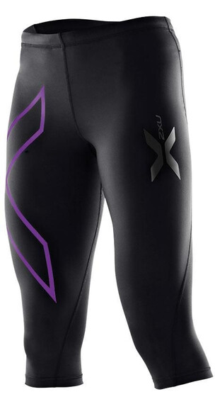 2XU W's Compression 3/4 Tights Black/Purple Laquer logo